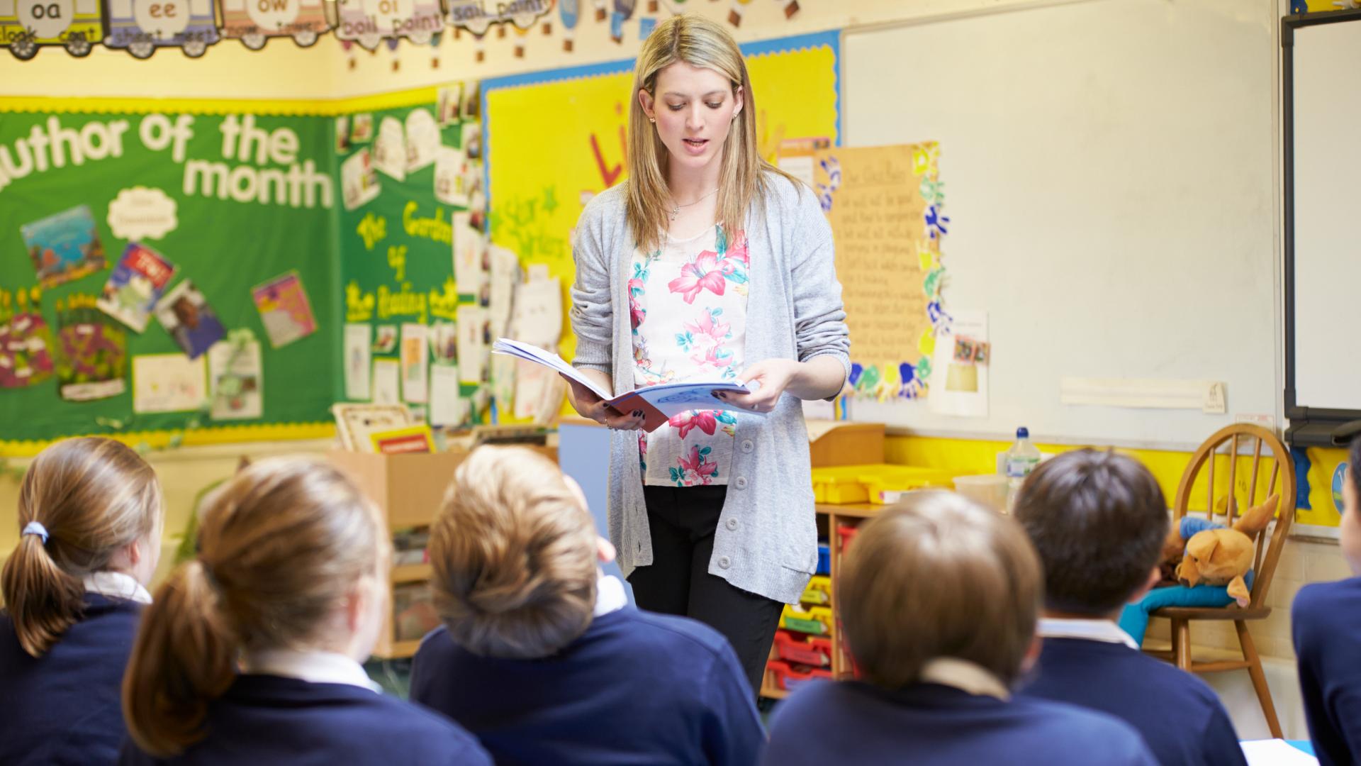 A teacher reads to her class